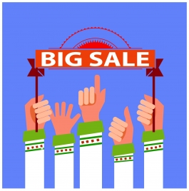 big sale banner design with hands raising ribbon