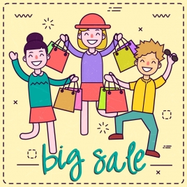 big sale banner shoppers icons colored cartoon design