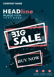 big sale poster grunge retro style geometric decoration