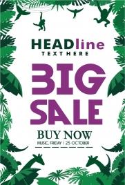 big sales poster jungle style tree animals decoration