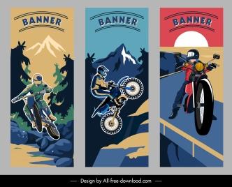 biking banner templates dark colorful dynamic sketch