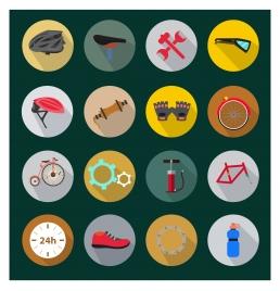 biking tools icons illustration in circle style