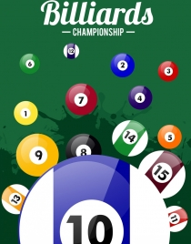 billiards championship banner shiny colored balls grunge backdrop