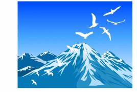 Bird and Mountain Scene Vector