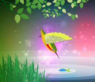 bird hunting fish theme colored decoration bokeh background