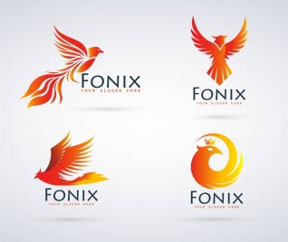 bird logo sets phoenix icon yellow design