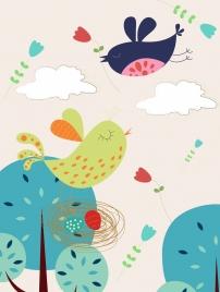 bird nest drawing colored cartoon decor