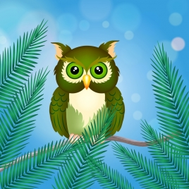 bird perching on branch drawing colorful cartoon style