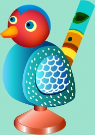 bird toy flute template colorful 3d design