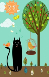 birds cat background multicolored cartoon decoration