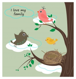 birds family background illustration with text in colors