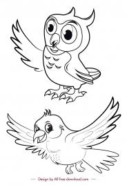 birds icons black white owl dove handdrawn sketch