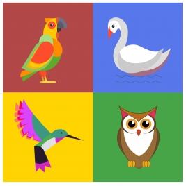 birds icons set illustration in color design