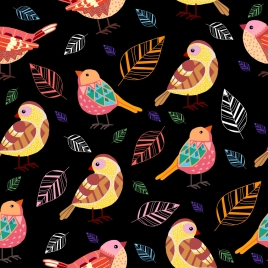 birds leaves background colorful repeating design