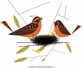 birds nest painting colored cartoon sketch