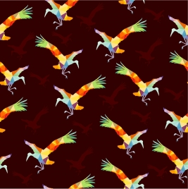 birds repeating pattern design colorful polygon style