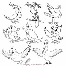 birds species icons black white cartoon sketch