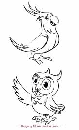 birds species icons black white parrot owl sketch