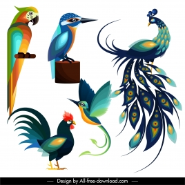 birds species icons colorful flat sketch
