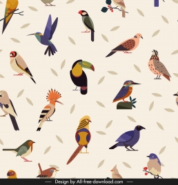 birds species pattern colorful classical decor