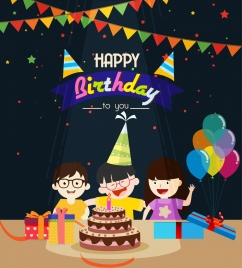 birthday background playful kids cake ribbon balloon icons