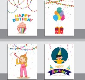 birthday background sets ribbon cake confettie kids icons