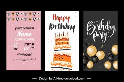 birthday background templates elegant flat festive symbols decor