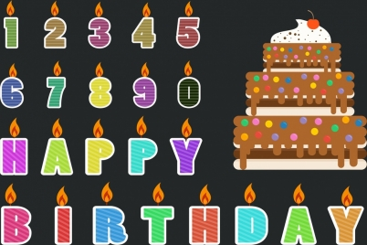 birthday banner colored numbers greeting words cake icons