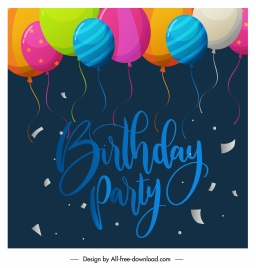 birthday banner colorful flying balloons eventful design