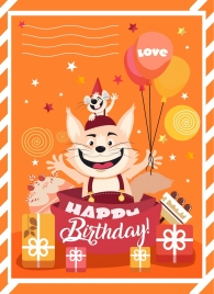 birthday banner cute cat mouse icon stylized design