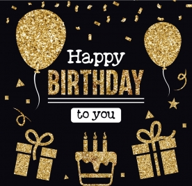 birthday banner golden decoration balloon giftbox cake icons