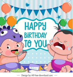 birthday banner template funny kids sketch cartoon design