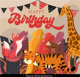 birthday banner wild animals characters colorful classic