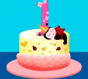 birthday cake design number candle icon ladybirds decoration