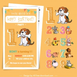 birthday card design elements classic numbers animals sketch