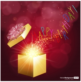 birthday card design with twinkling magical gift box