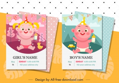 birthday card template cute children icon cartoon characters