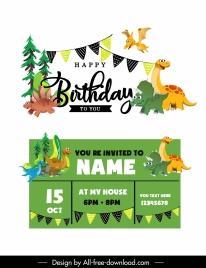 birthday card template cute dinosaur icons cartoon sketch