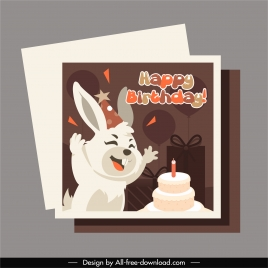 birthday card template cute funny rabbit sketch