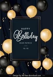 birthday card template elegant black golden balloons decor