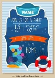 birthday card template marine decor colorful flat design