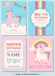 birthday card templates cute colorful unicorn rainbow decor