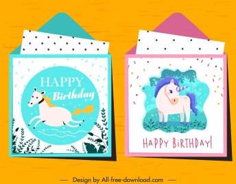 birthday card templates horse unicorn sketch colorful classic