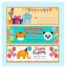 birthday card vector illustration with cute cartoon animals