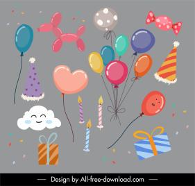 birthday decor elements balloon present cloud candle sketch
