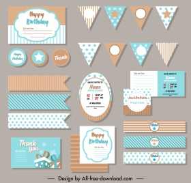 birthday design elements colorful flat classic decor