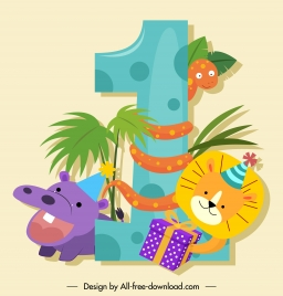 birthday number icon cute animals sketch colorful cartoon