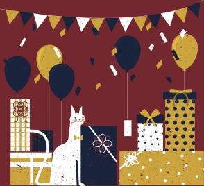 birthday party background cat gift balloon ribbon decor