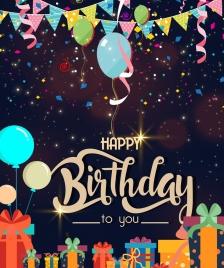 birthday poster balloon ribbon gift icons glittering decor
