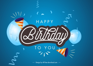 birthday poster dynamic balloon confetti decor modern design